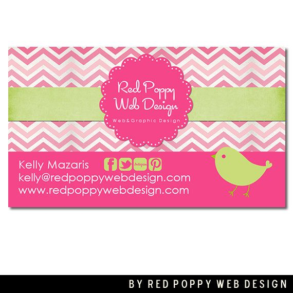 Premade business card design digital business cards pink chevron premade business card design digital business cards pink chevron bird green vintage print cheaphphosting Images
