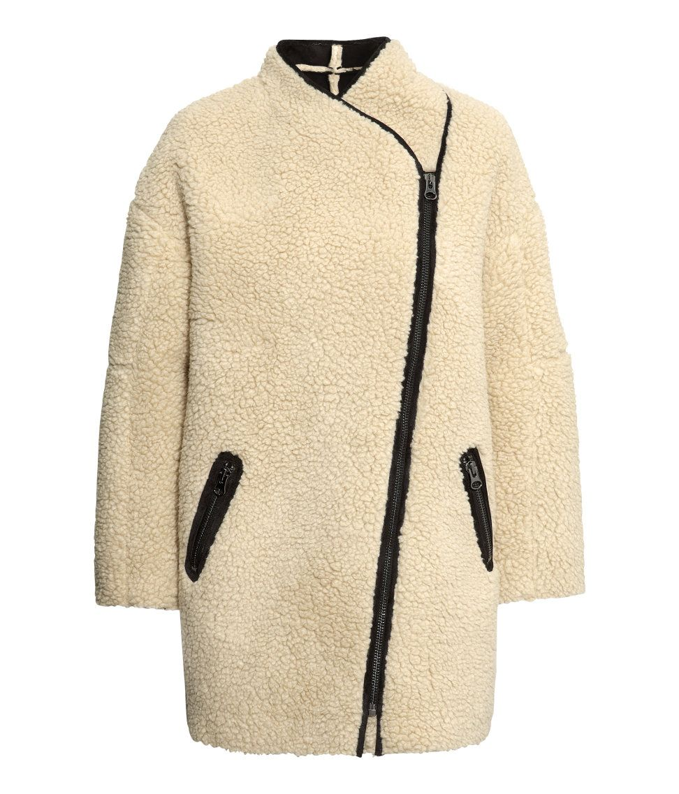 Check this out! Short, wide-cut coat in imitation sheepskin. Small ...