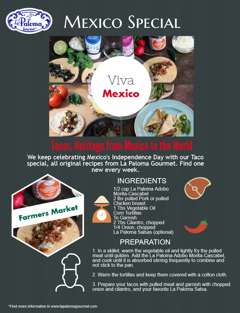 This is our #Taco Special of the week to keep celebrating #Mexico Independence Day. Check out our #Infographic  Full #recipes here www.lapalomagourmet.com New recipe next week!
