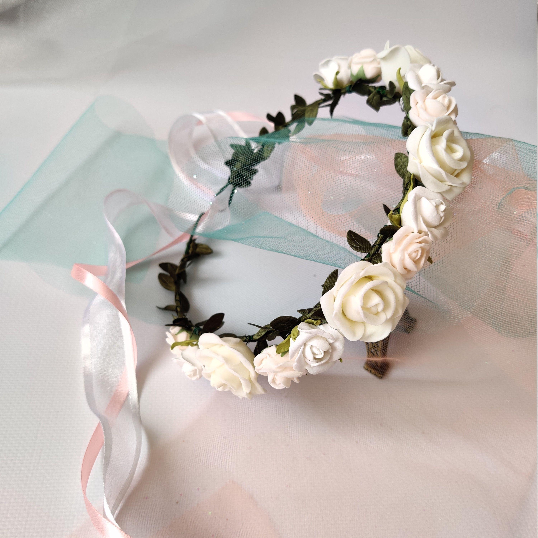Blush peach ivory greenery floral headband newborn toddler dainty flower crown baby shower gift girl spring pink neutral baptism christening