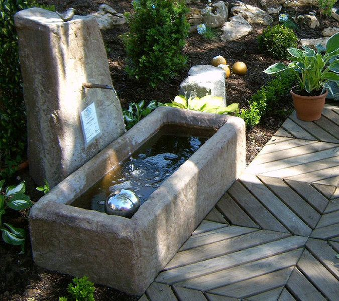 Felsdekor Garten Brunnen Felsentränke 04201 sand Trog - brunnen garten stein