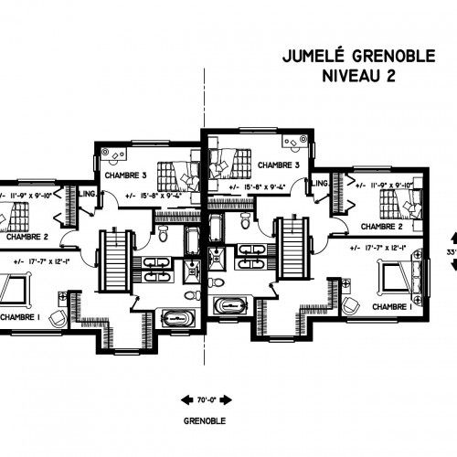 Jumelé à vendre à Ste-Foy (Québec) Plan de maison jumelée moderne - plan de maison design