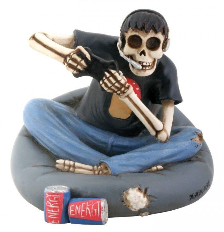 Skull Gamer Sitting on Cushion Figurine