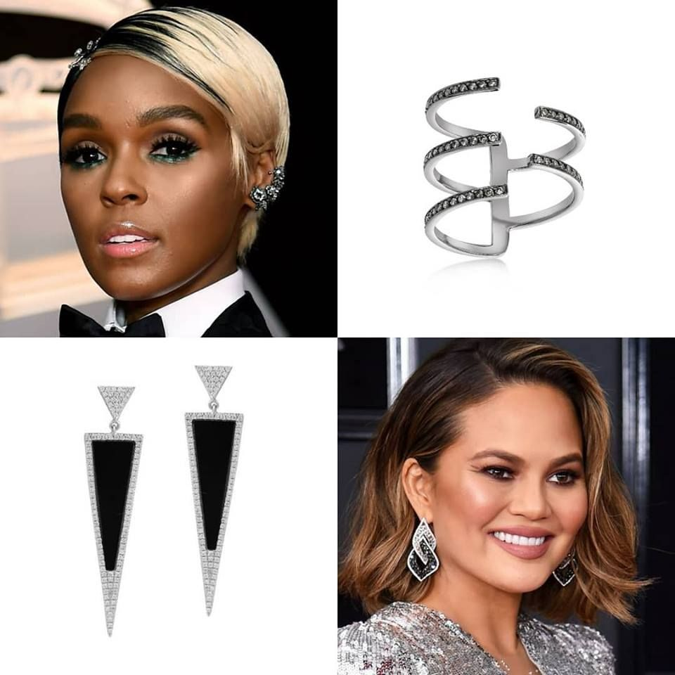 While Lady Gaga and Beyonce grabbed a lot of the jewelry press from the Grammys with their huge jewelry looks, we preferred the more understated geometry of the black and white earrings worn by Chrissy Teigen and Janelle Monae.   Maybe that's because Fortunoff's Black and White collection features a lot of geometry, as demonstrated by these Art Deco black agate and diamond earrings or the asymmetry of this blackened white gold ring with light grey and silver diamonds.