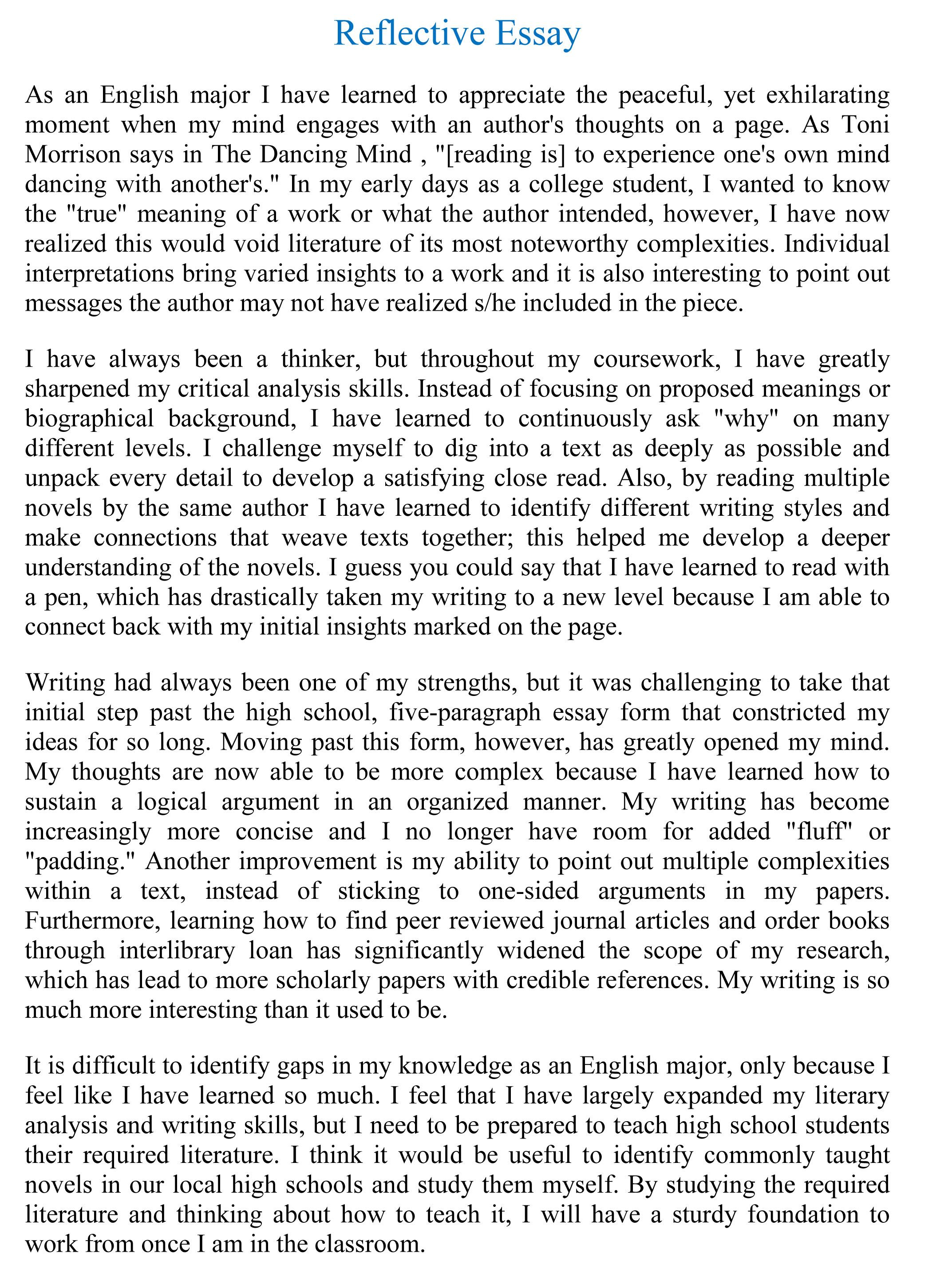 reflection essay on english Below, i'll show you how to create a killer reflective essay outline, and i'll even give you a downloadable template you can use to make your own outline.