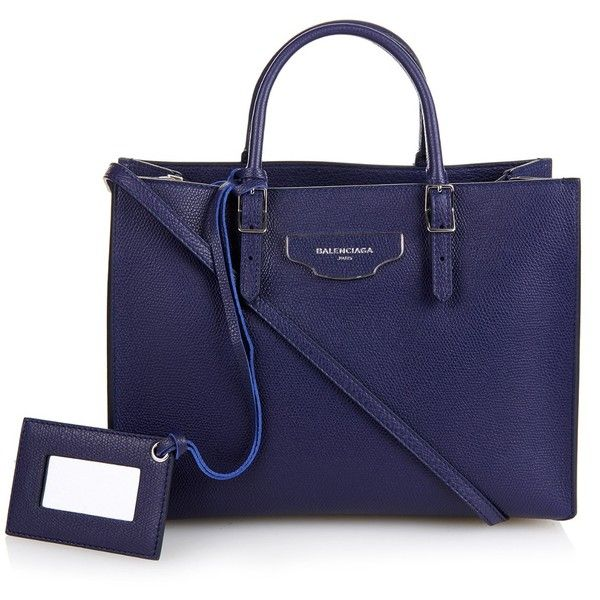 Balenciaga Papier A6 Plate leather cross-body bag (5.507.785 COP) ❤ liked on Polyvore featuring bags, handbags, shoulder bags, blue, leather crossbody purse, leather shoulder handbags, blue purse, genuine leather shoulder bag and crossbody shoulder bags