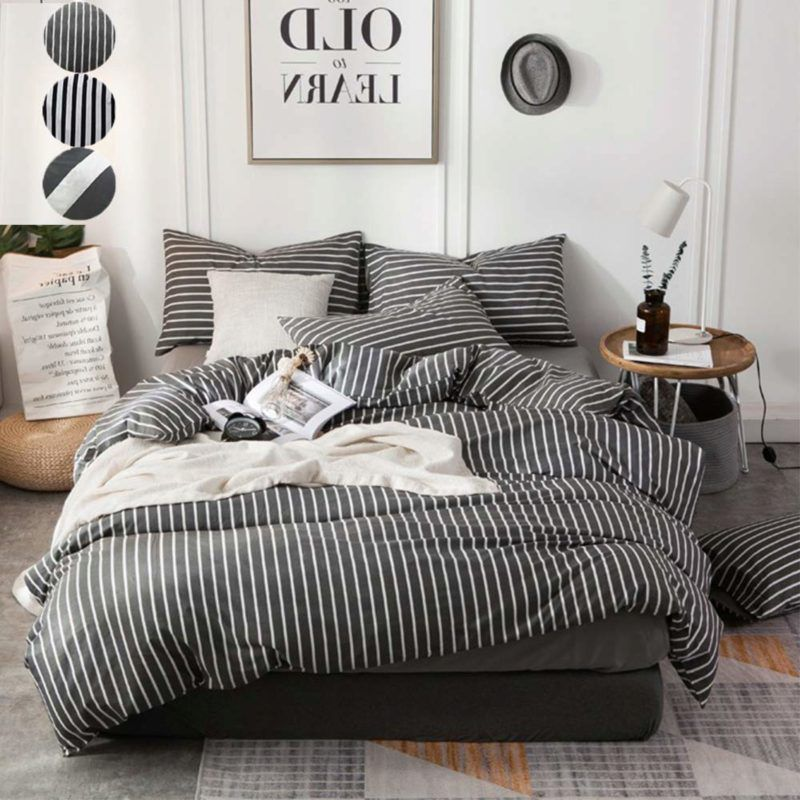 Amazon Com Clothknow Striped Duvet Cover Queen Cotton Grey Gray Bedding Set Full Ticking Vertical Stripes Beddi Full Bedding Sets White Bed Set Comforter Sets