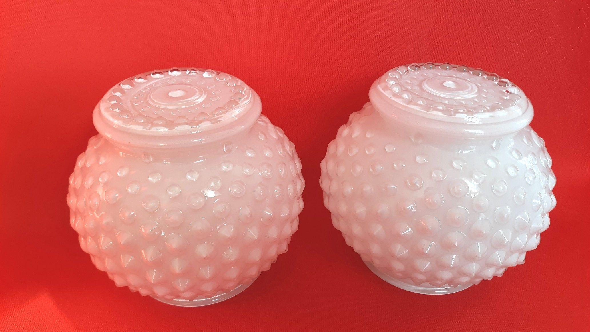 Pair White Glass Spiky Hobnail Design Globes Light Fixture Etsy Globe Light Fixture Bathroom Wall Sconces Globe Lights