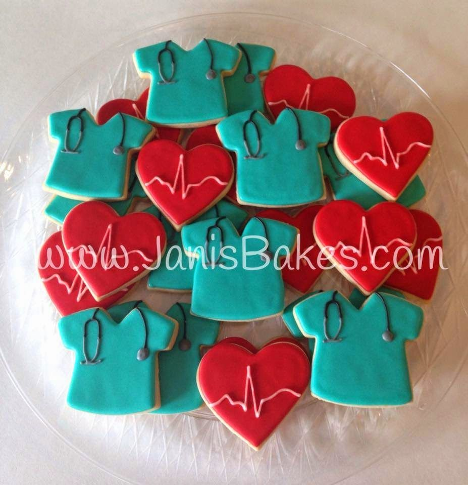 Janis Bakes Medical Scrubs And EKG Heart Cookies For A Nurse Retirement Party