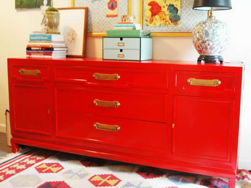 Spray Painted Furniture Ideas Part - 29: Love This Red Credenza. Orange Painted Furniture ...