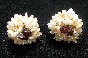 Victorian-style Keshi Seed Pearl & Garnet Earrings