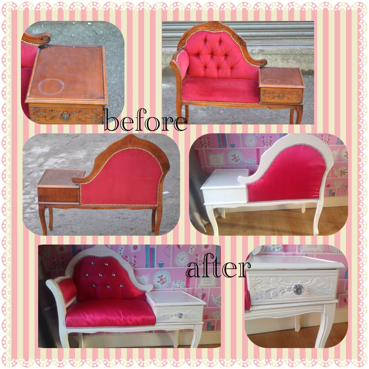 up cycled telephone table chair phone vintage and. Black Bedroom Furniture Sets. Home Design Ideas