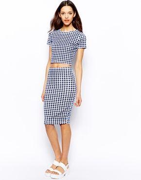 Pull&Bear Gingham Pencil Skirt