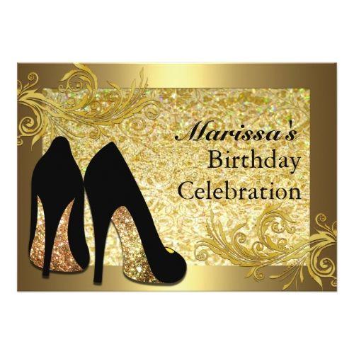50th Birthday Party Invitations Black Gold Glitter Womans Invitation
