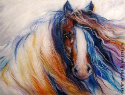 Картина шерстью Есть ли лошади в раю?.