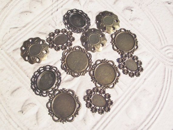 ANTIQUE BRONZE SETTINGS,Cabochon Setting Lot,Antique Style Cameo Settings,Jewelry Findings Lot,Cameo Setting Lot,Jewelry Supply Lot