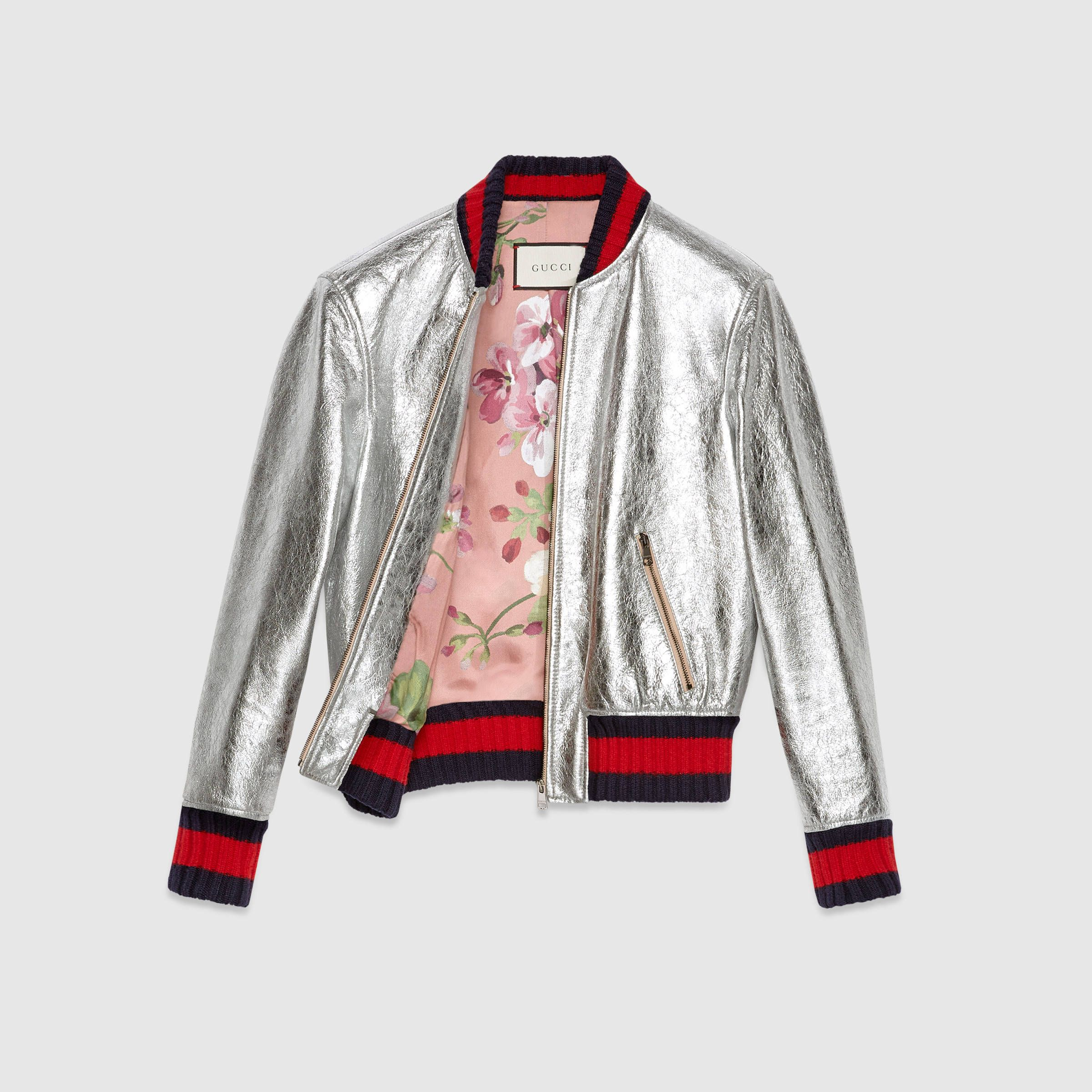 Gucci Crackle Leather Bomber Jacket White Bomber Jacket White Leather Jacket Leather Flight Jacket [ 2400 x 2400 Pixel ]