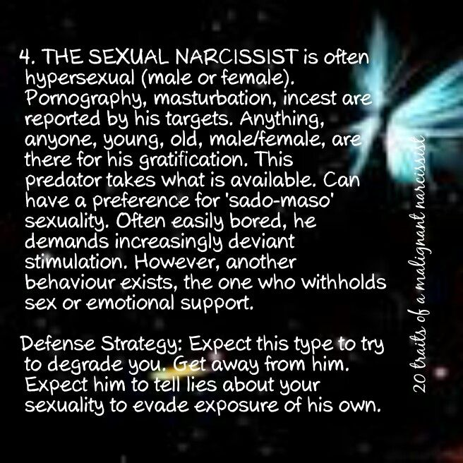 Sexual exploits of a narcissist