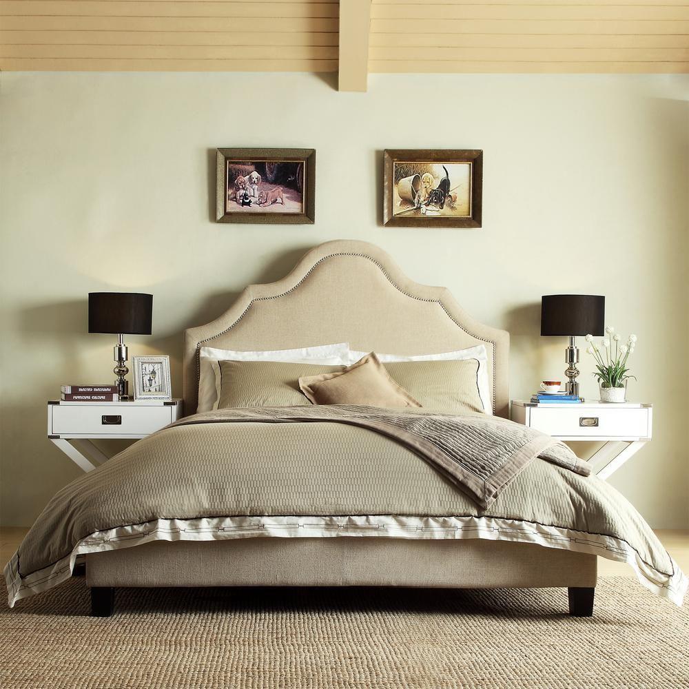 Best Homesullivan Beauvais Beige Full Upholstered Bed 400 x 300