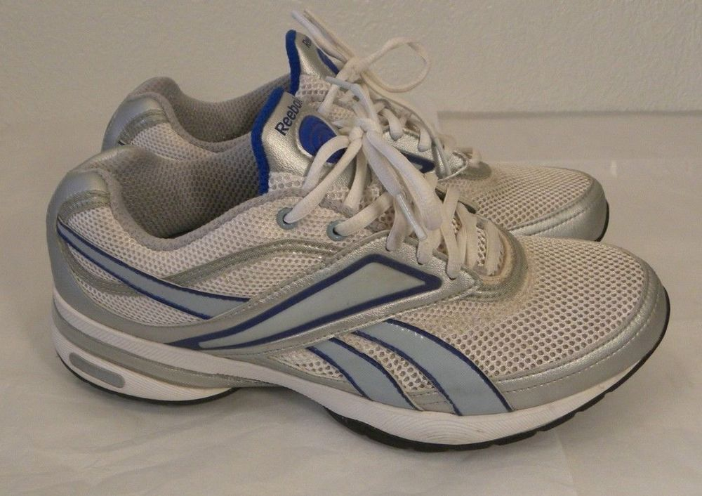 98f16f9cf7ac Reebok EasyTone Sneakers Womens Size 9M White Silver Blue Lace Up Walk  SmoothFit  Reebok  WalkingShoes