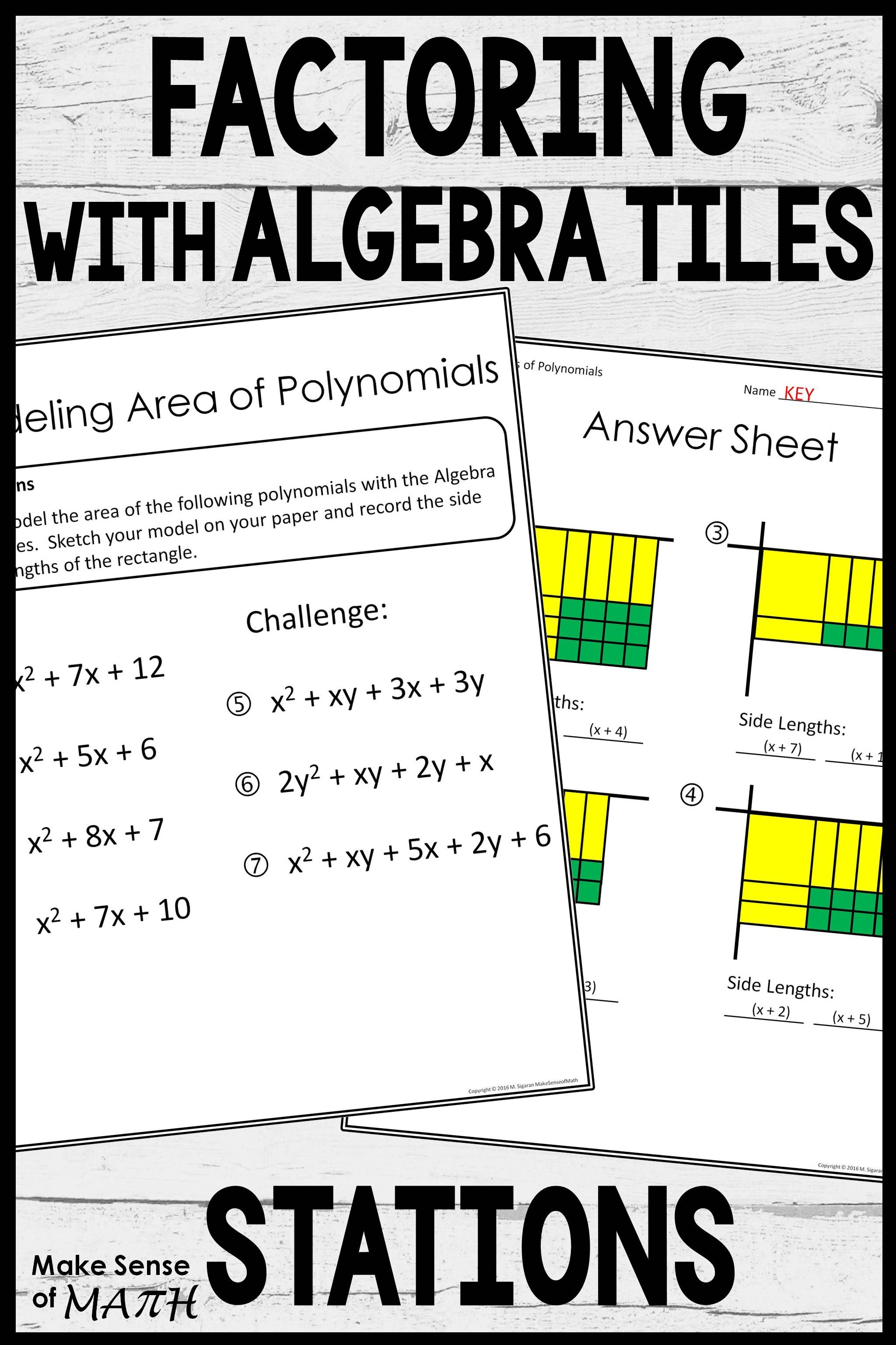Factoring And Multiplying Polynomials Stations With