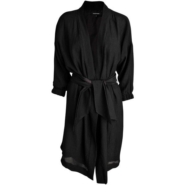 Wackerhaus Noble silk kimono dress with belt ($475) ❤ liked on Polyvore featuring dresses, black, black tie belt, black dress, kimono dress, black sleeve dress and loose fitting dresses