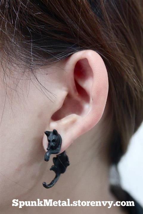 These Gauge Style Black Cat Earrings Are Split The Head Pokes Out Front Of Your Ear And Tail Hangs Down Back For A Nifty Fake