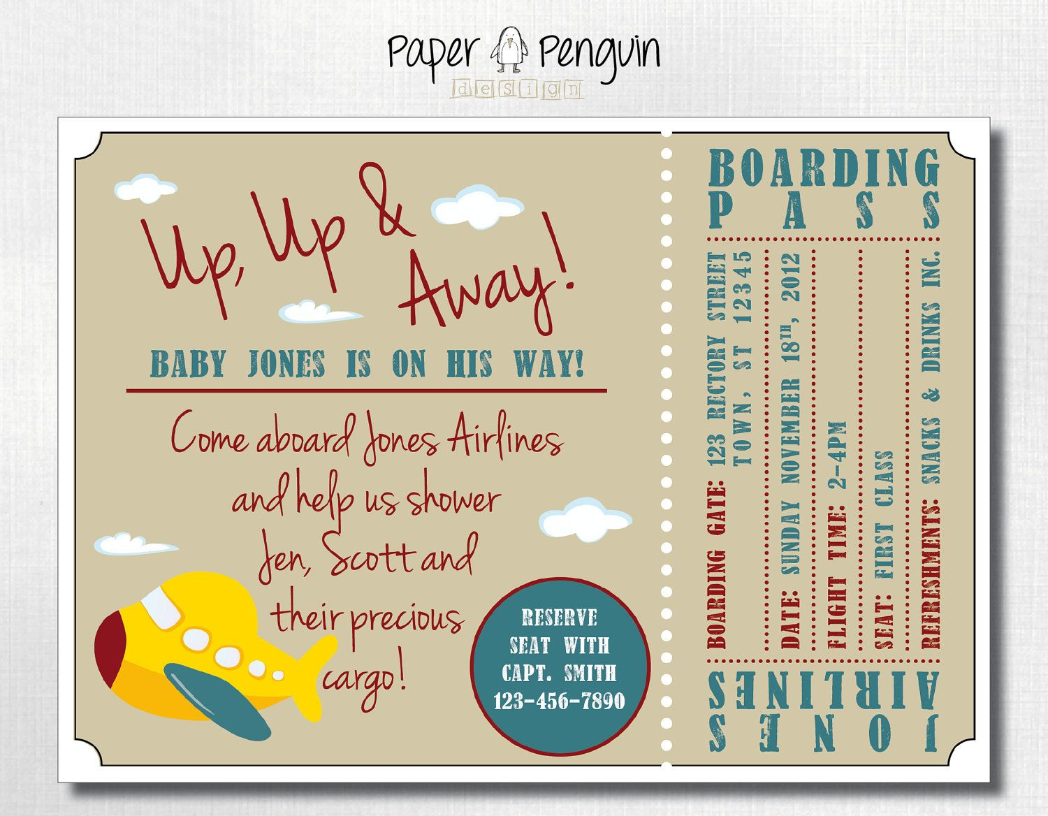 Personalized Airplane Ticket & Boarding Pass Baby Shower Invitation ...