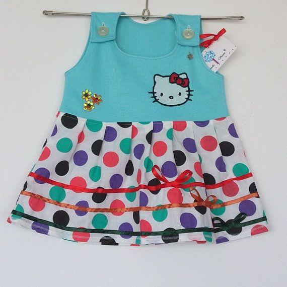 Handgemaakte baby jurk stippen strepen en door SorinelaSavini