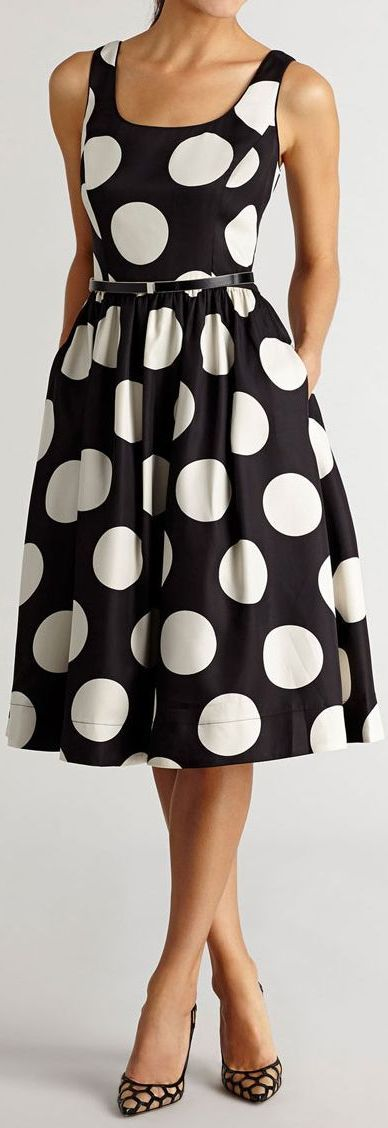 polka dot midi dress: