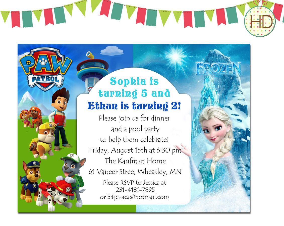 Twin Birthday Invitation, Split Invitation, Paw PAtrol and Frozen ...