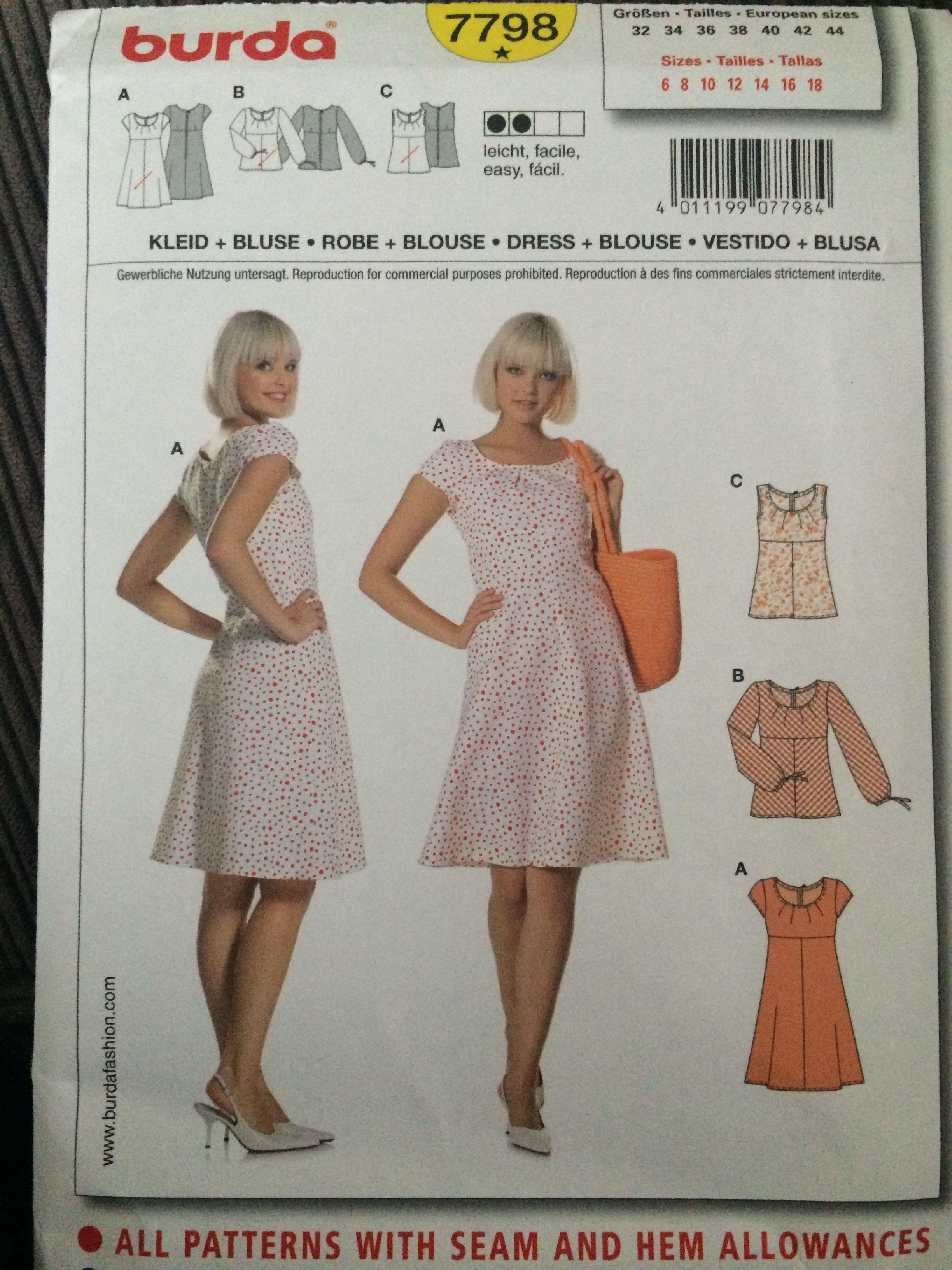 Burda 7798 Dress Sewing Patterns Dress Making Patterns Dresses