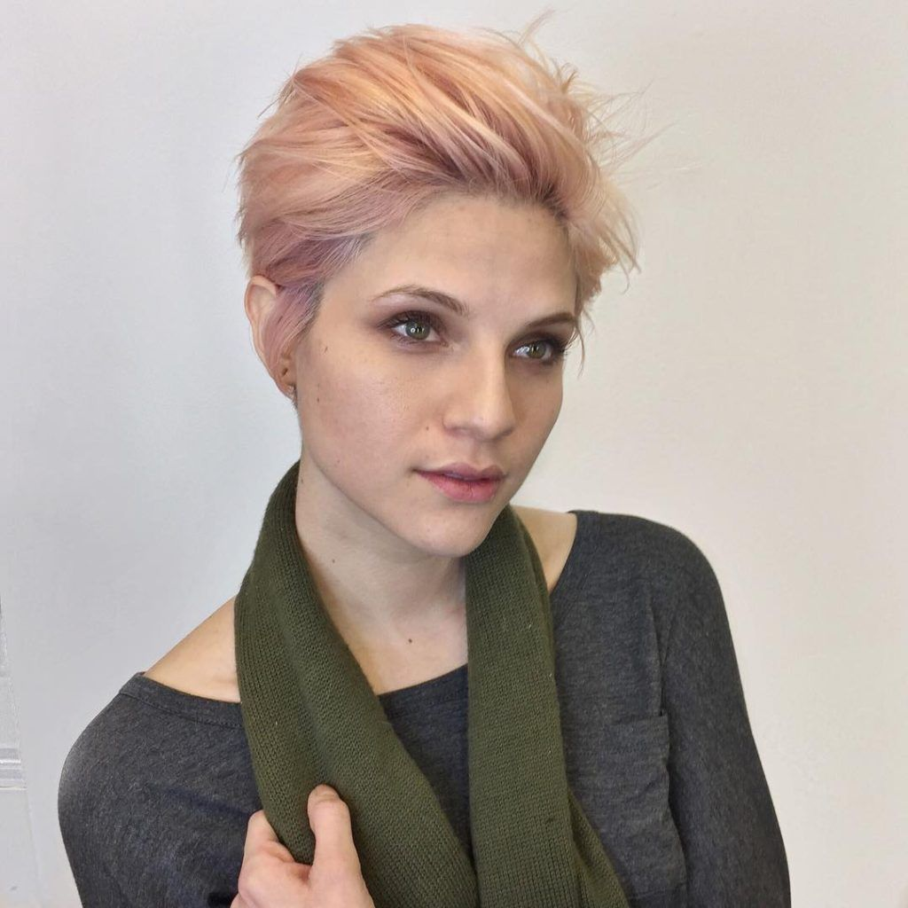 voluminous brushed up pixie with messy blowout texture and