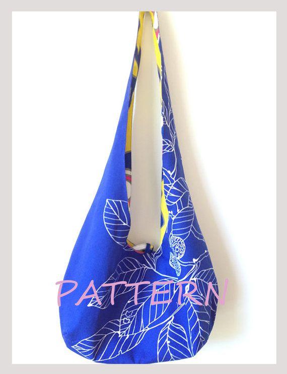 Hobo bag PATTERN, reversible cross body bag sewing pattern, sling ... : quilted crossbody bag pattern - Adamdwight.com