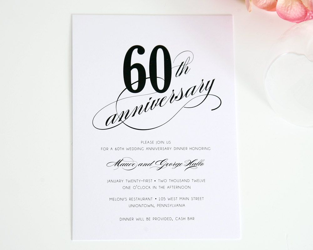 60th Wedding Anniversary Invitations Ideas | 60th anniversary ...