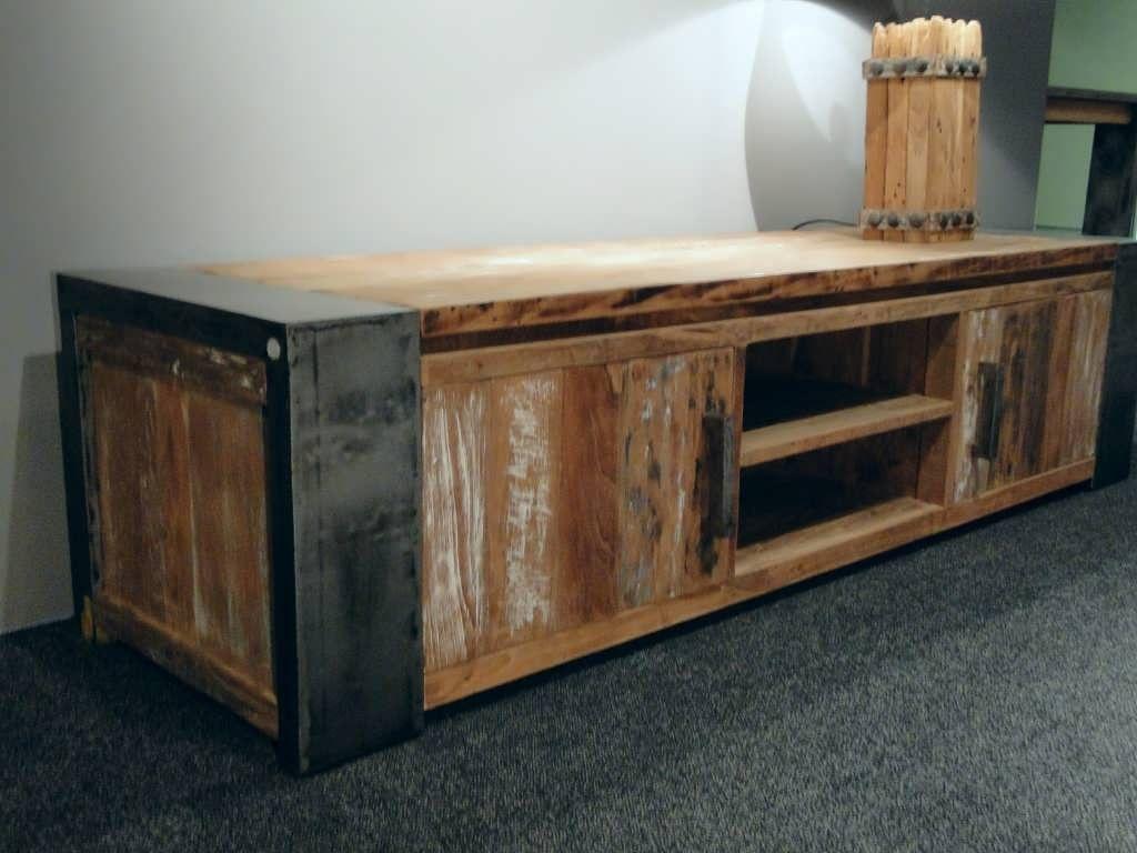 Kast Hout Staal : Tv kast staal hout woonkamer staal wandkast tv meubel van