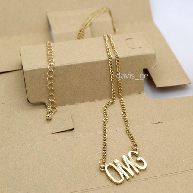 "[$5 Minimum] Small Fashion Gold Tone 1""X0.6"" OMG Words Pendant 22"" Necklace EJG Freeshipping Wholesale lots"