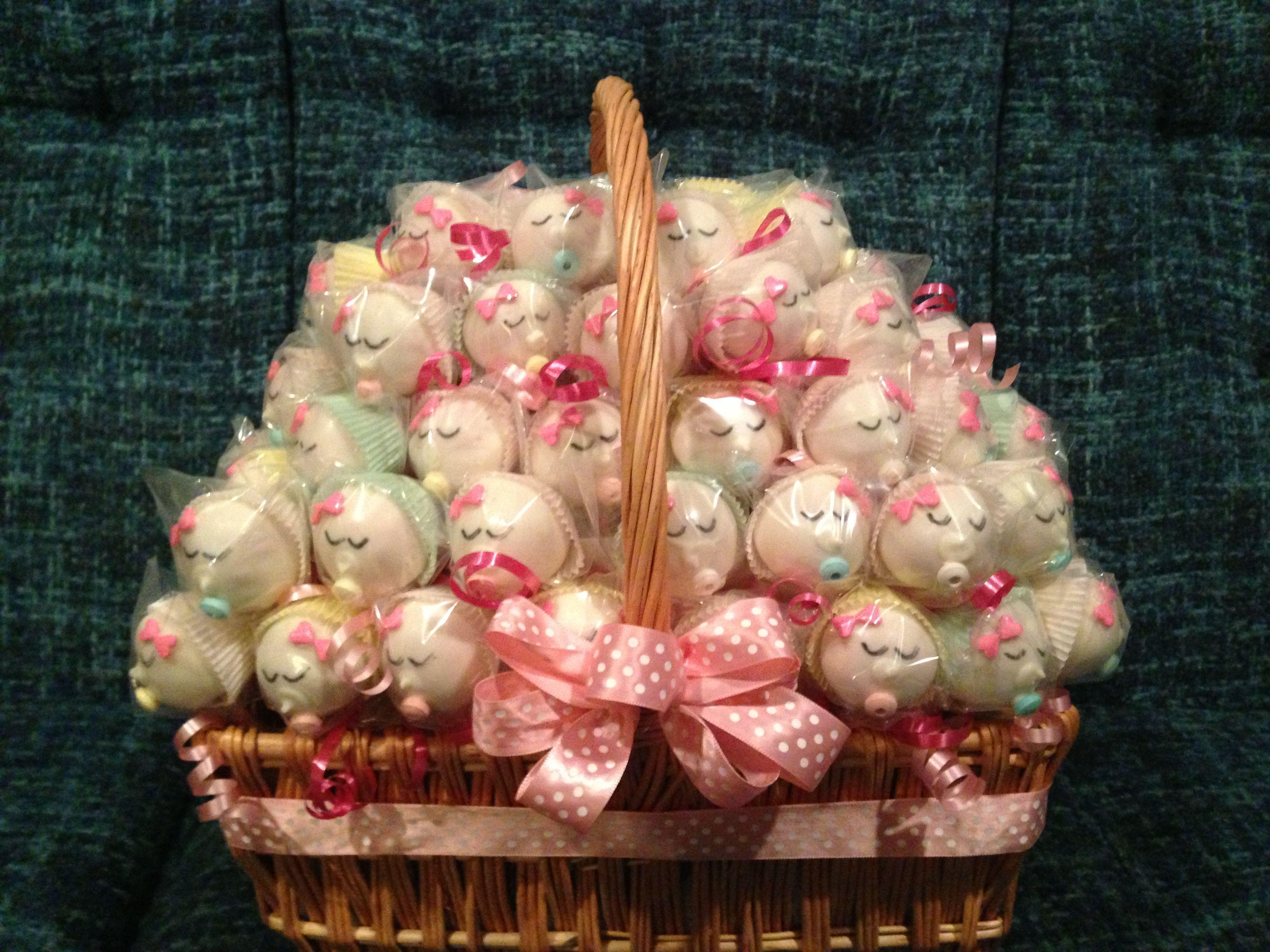 Baby girl cake pop basket baby girl cakes cake pops