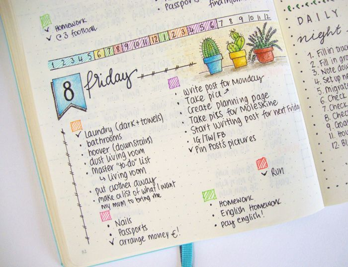 Image result for bullet journal daily spread