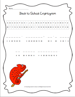 Back to School Cryptogram- Students use the code to solve
