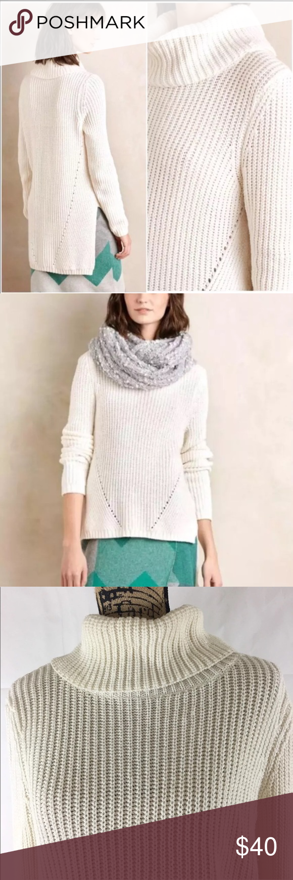 MOTH Anthropologie Hi Lo Chunky Turtleneck Sweater High low chunky ...