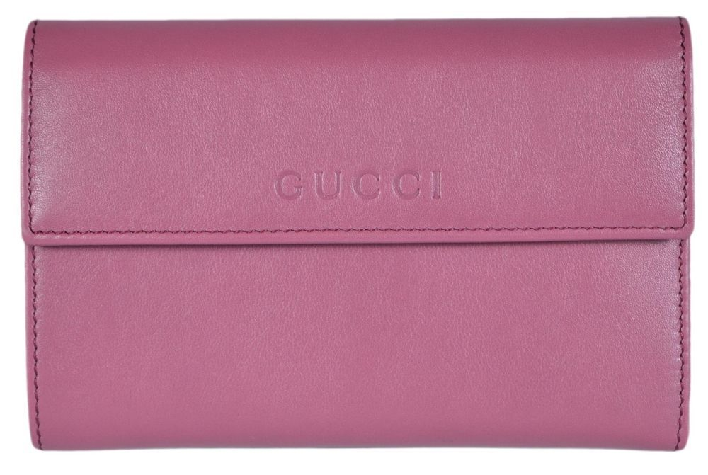 4c2820190f4 Leather · New Gucci Women s 346057 Peonia Pink Leather French Wallet W Coin  Pocket ...