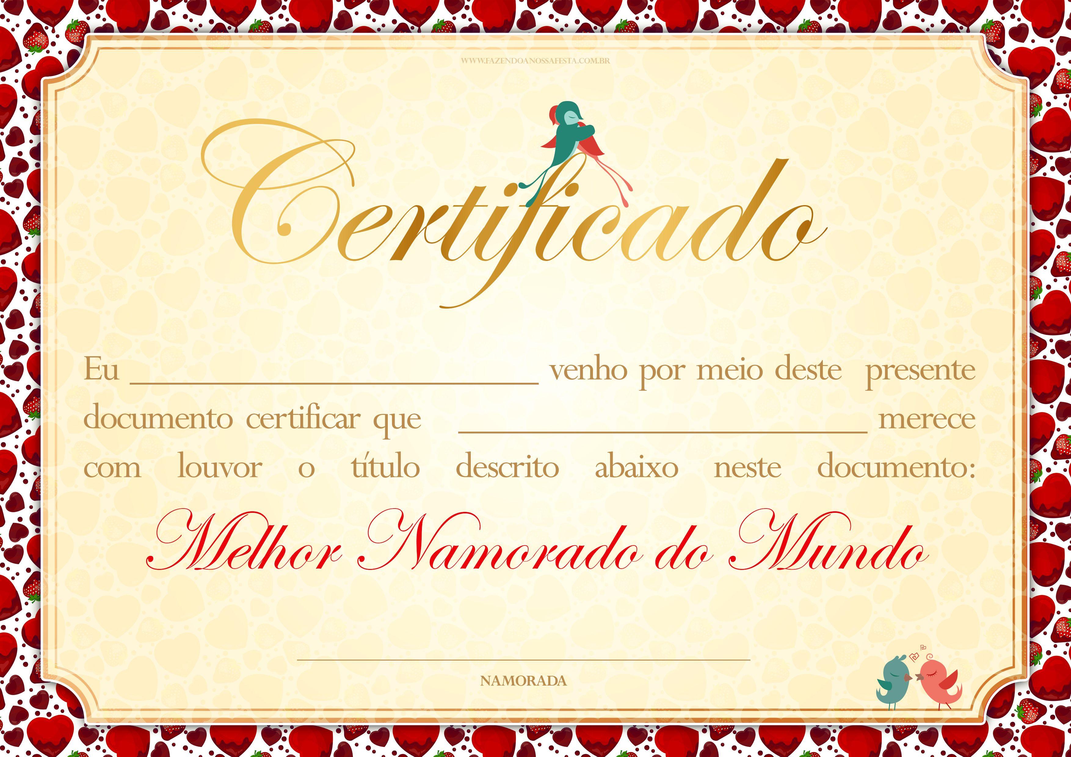 Clique E Imprima Certificado Dia Dos Namorados Cartoes Para