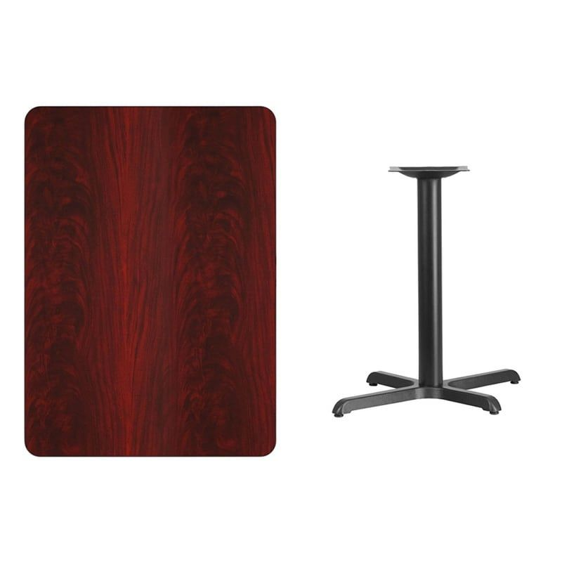 Offex 30'' x 42'' Rectangular Mahogany Laminate Table Top with 22'' x 30'' Table Height Base, Red