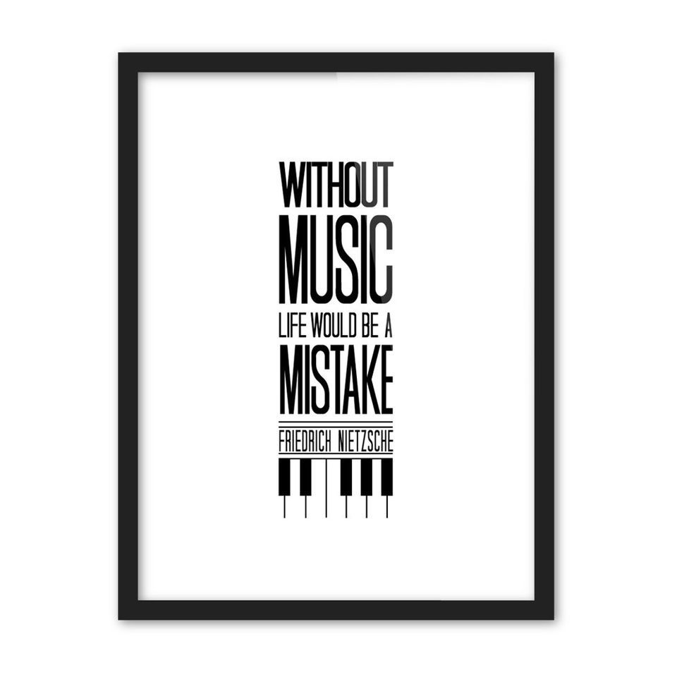 Music life black white pop poster piano wall quote wall art gift
