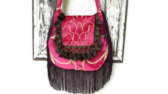 Bohemian Crossbody Bag with Pink Cut Velvet by ZojjaUniquelyYou, $71.00