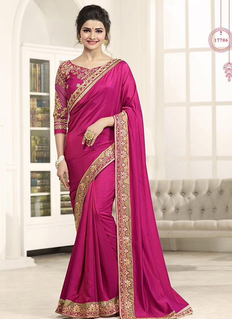 Pink Paper Silk Designer Saree