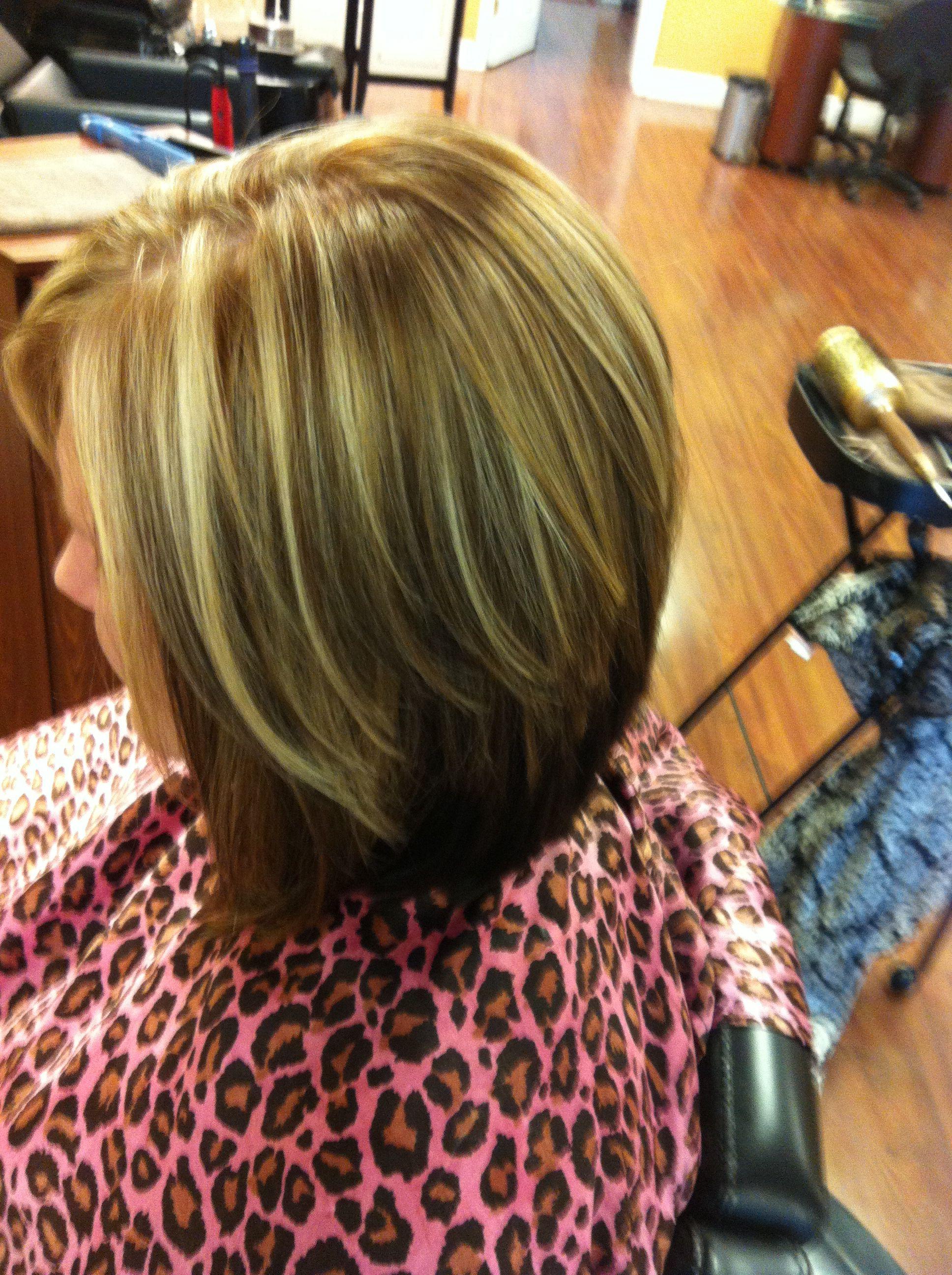 Dark brown underneath, dark blonde lowlights, bright blonde highlights: ) slightly stacked, layered bob haircut.