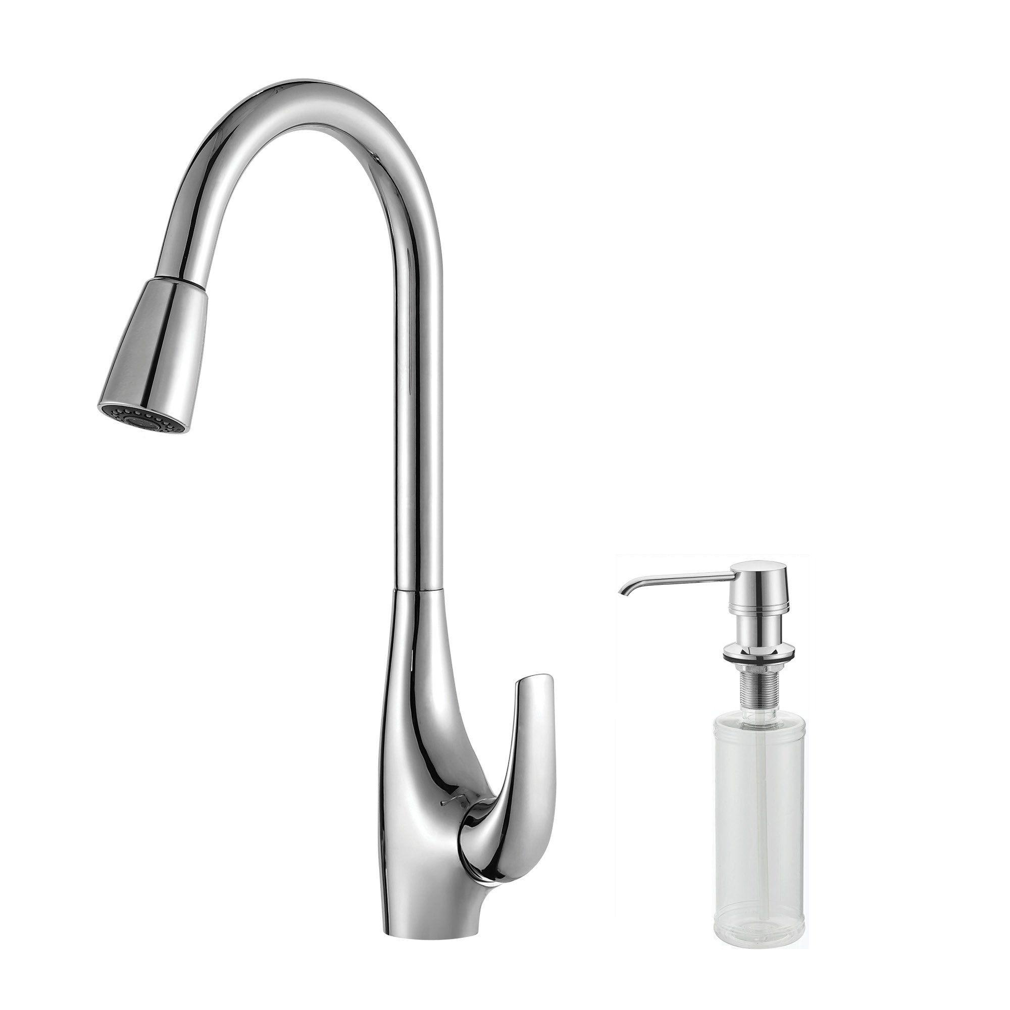 Kraus Kpf 1621 Ksd 30ch Single Lever Pull Down Kitchen Faucet And Soap Dispenser Chrome Chrome Kitchen Faucet Kitchen Faucet Stainless Steel Kitchen