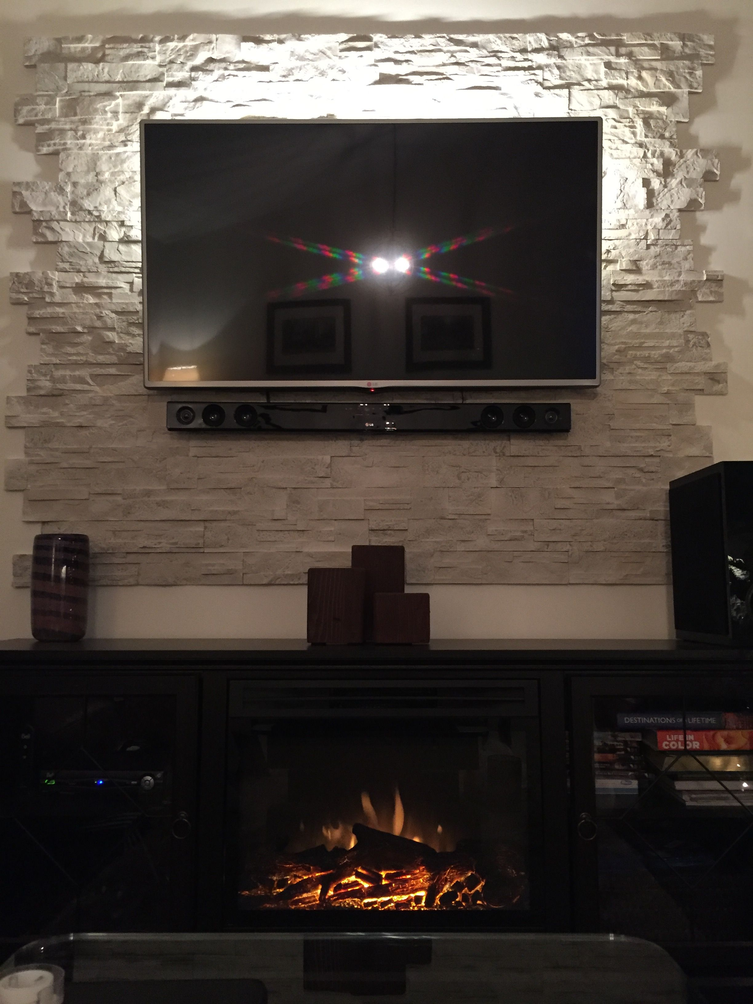 Composite Stone Tv Backdrop With Led Lighting Wall Mounted Tv